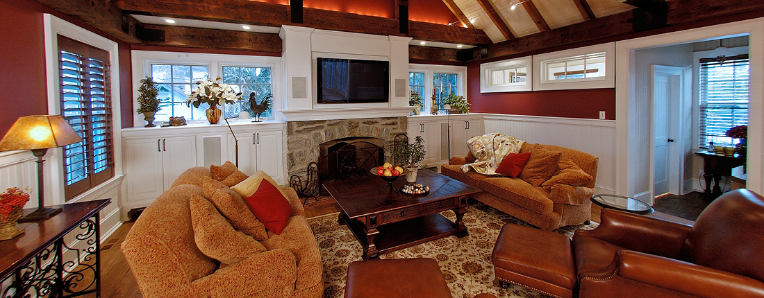 Vaulted Exposed Beams Family Room Addition Ardmore