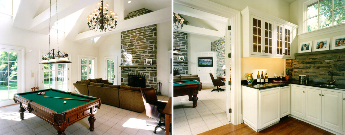 Vaulted Entertainment Room Addition with Billiards Main Line
