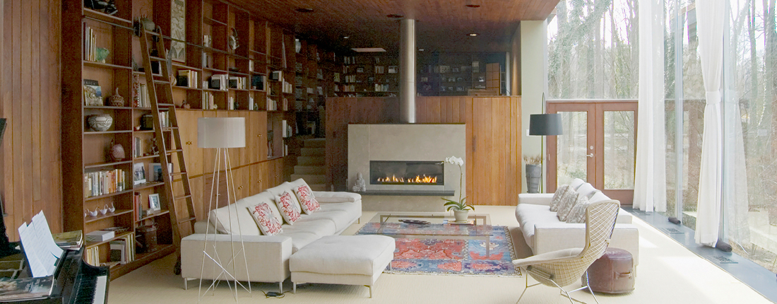 Modernist Family Room Renovation with Fireplace Philadelphia