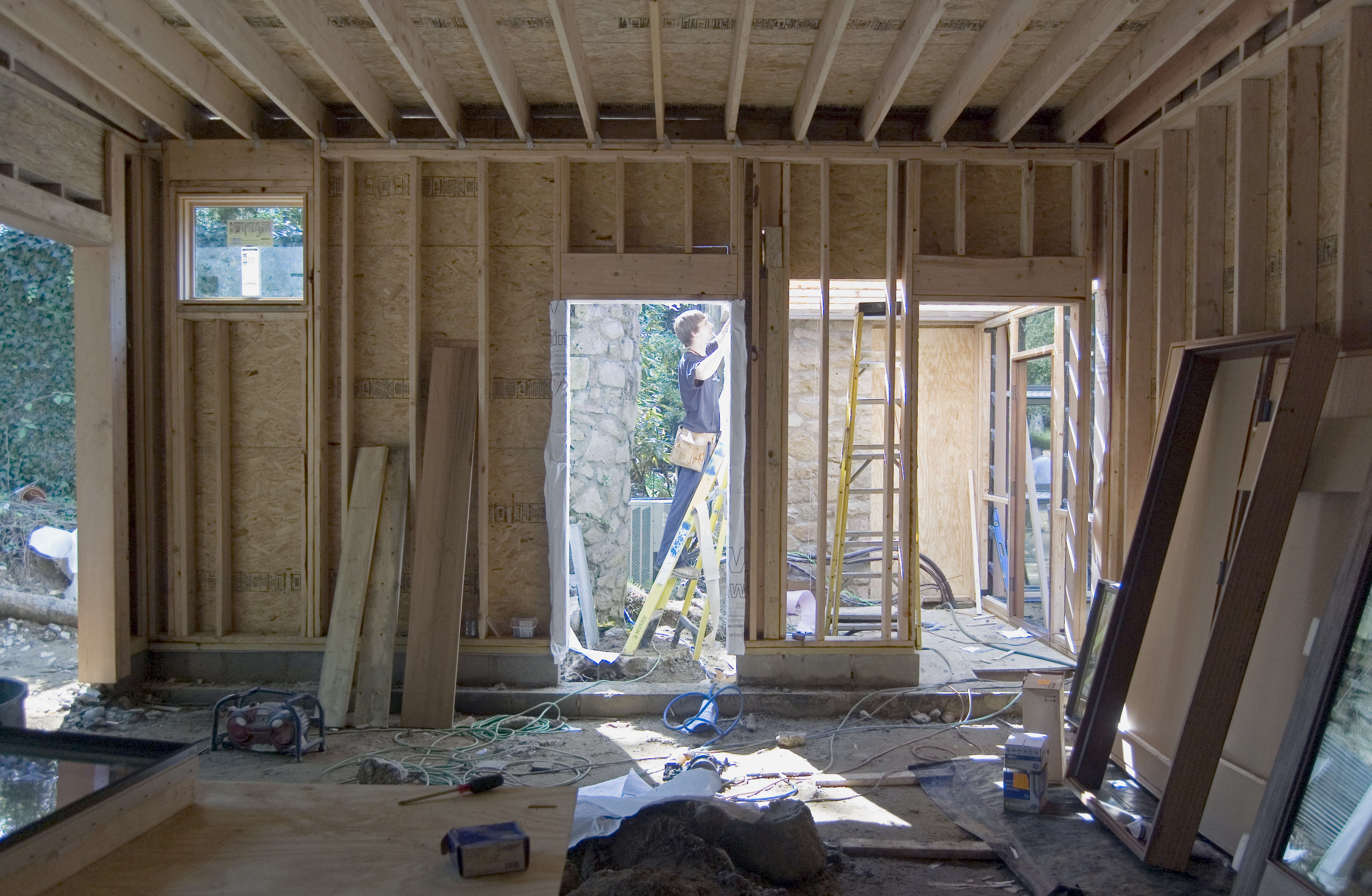 Garage Addition Interior During Framing – On The Level