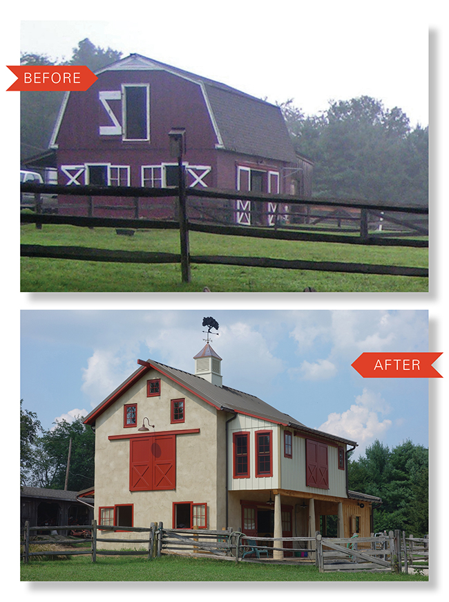 Stunning Chester County Barn Renovation On The Level - Before and after achorse stable
