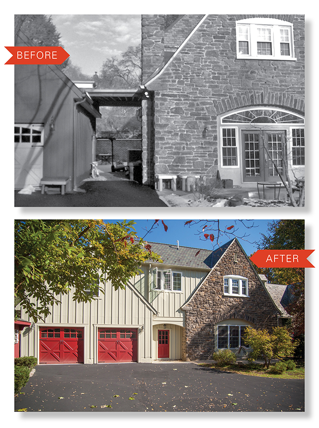 Before after elkins park 2 story addition on the level for Adding a second story to a detached garage