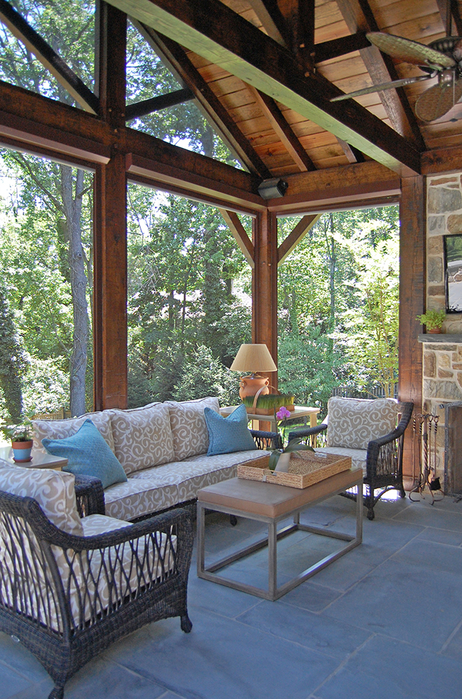 Covered Porch Addition with Retractable Screens