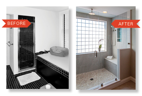 Master Bathroom Remodels Before And After before & after: a tub is nixed for a bigger shower – on the level