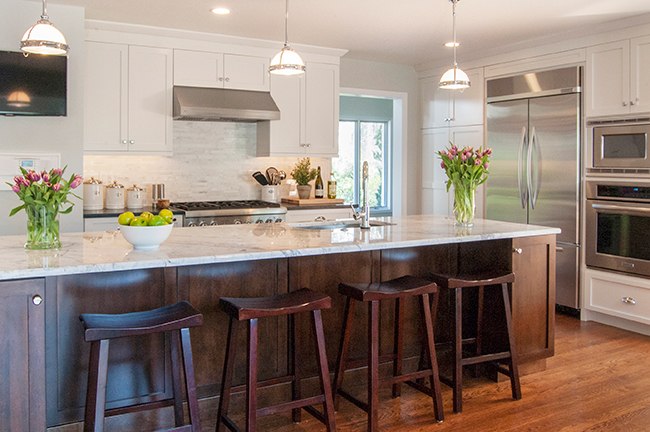 White Kitchen with Contrasting Rich Wood Island