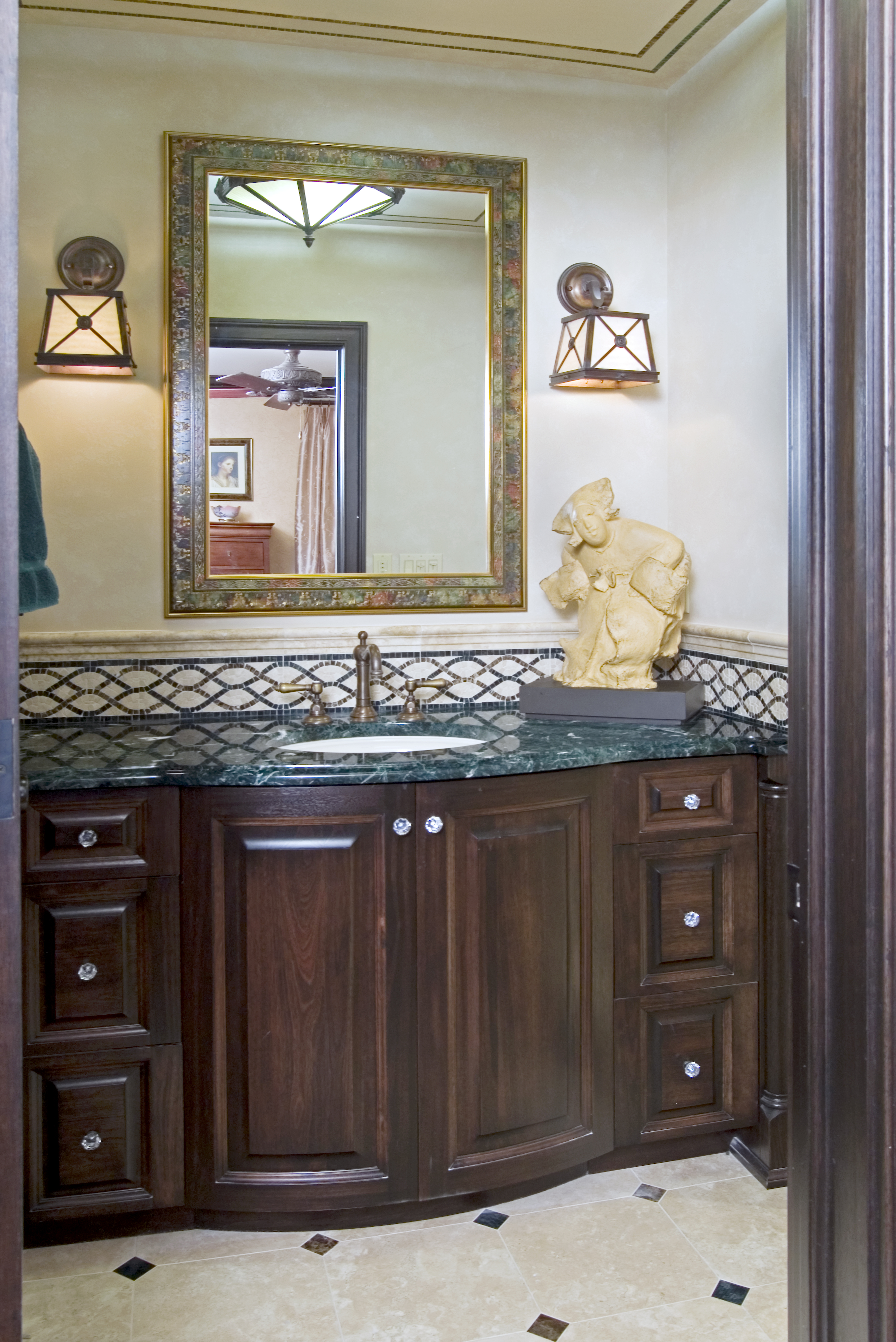 Master Bath Renovation Philadelphia Condo Custom Cabinetry Mosaic Tiles