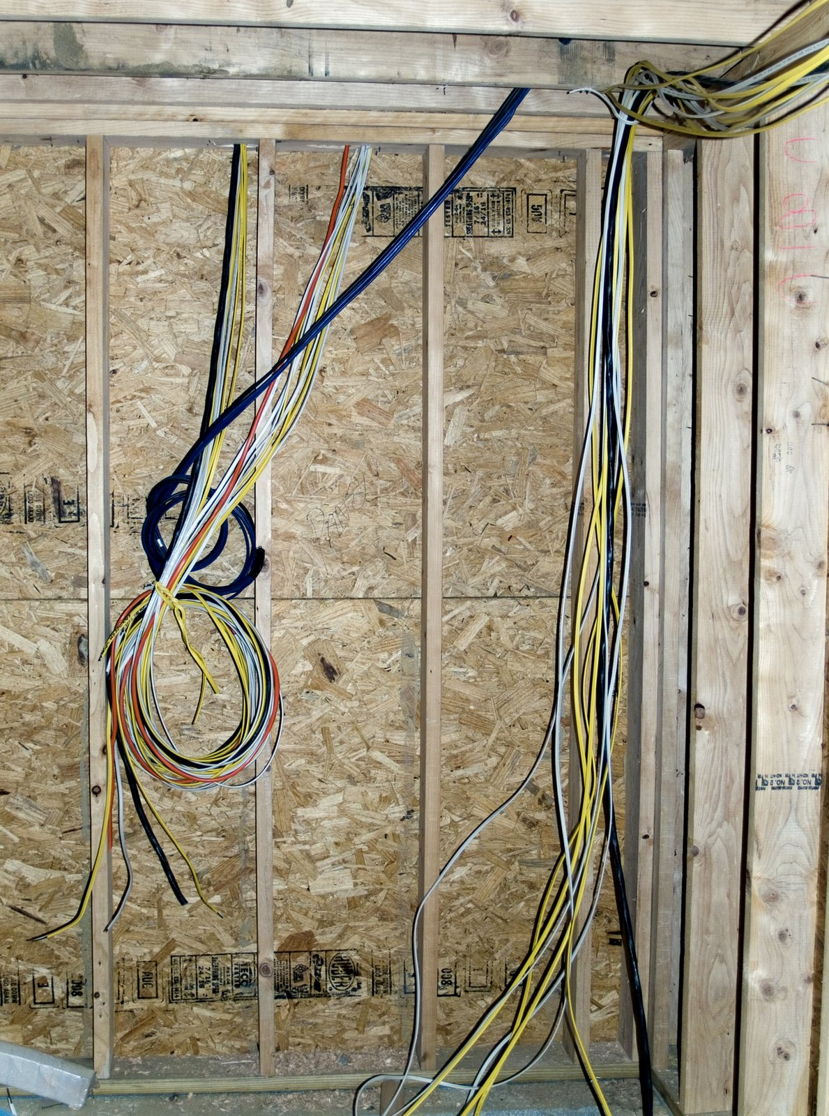 Its Electric Wiring Continues Whole House Renovation Addition P B Wires Running To Electrical Panels In The Basement Left And Garage Right Will Be Covered With Drywall This Week See Wad Of Blue White