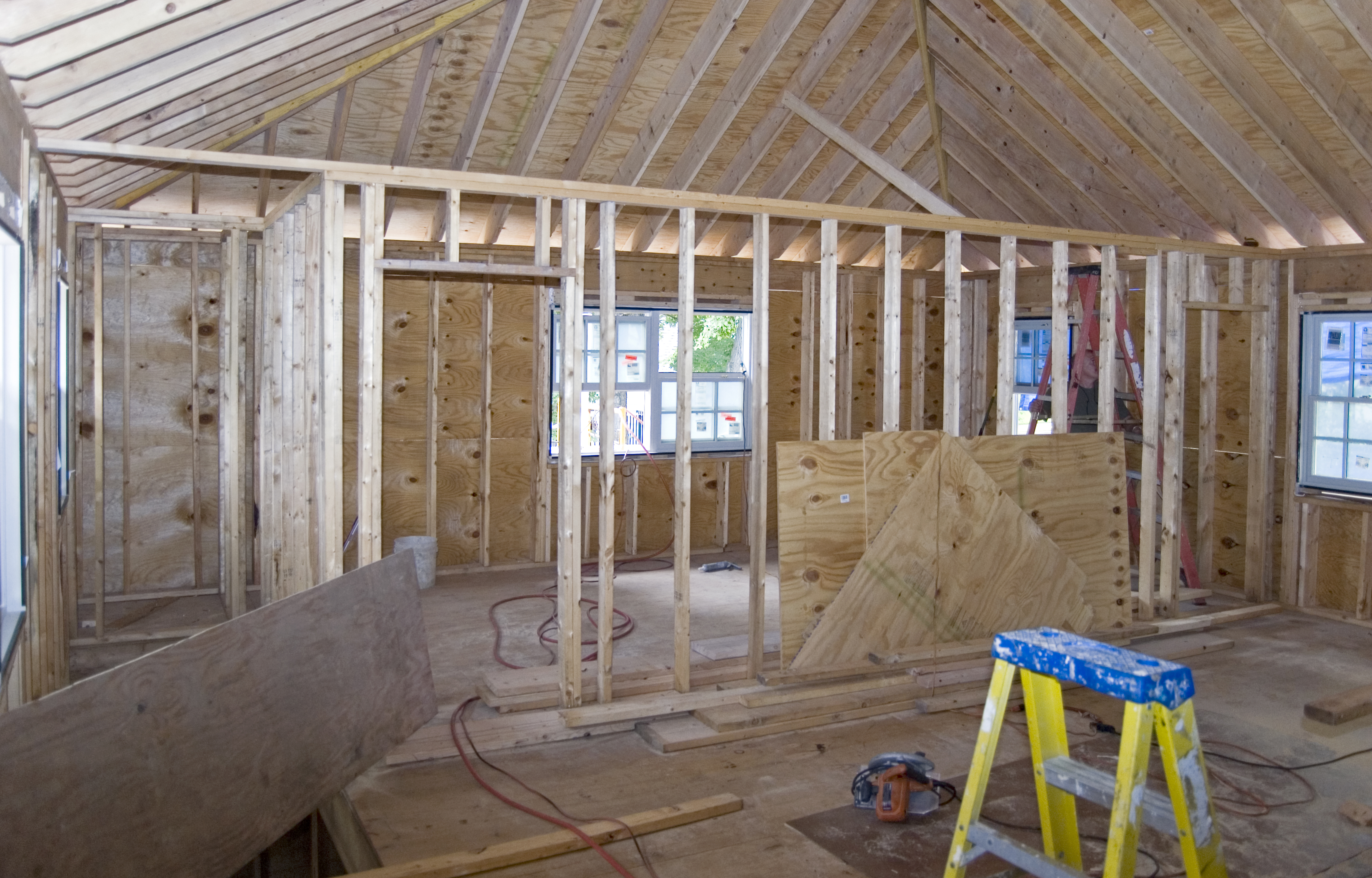 Master suite framing continues whitby drive renovation The master bedroom whitby