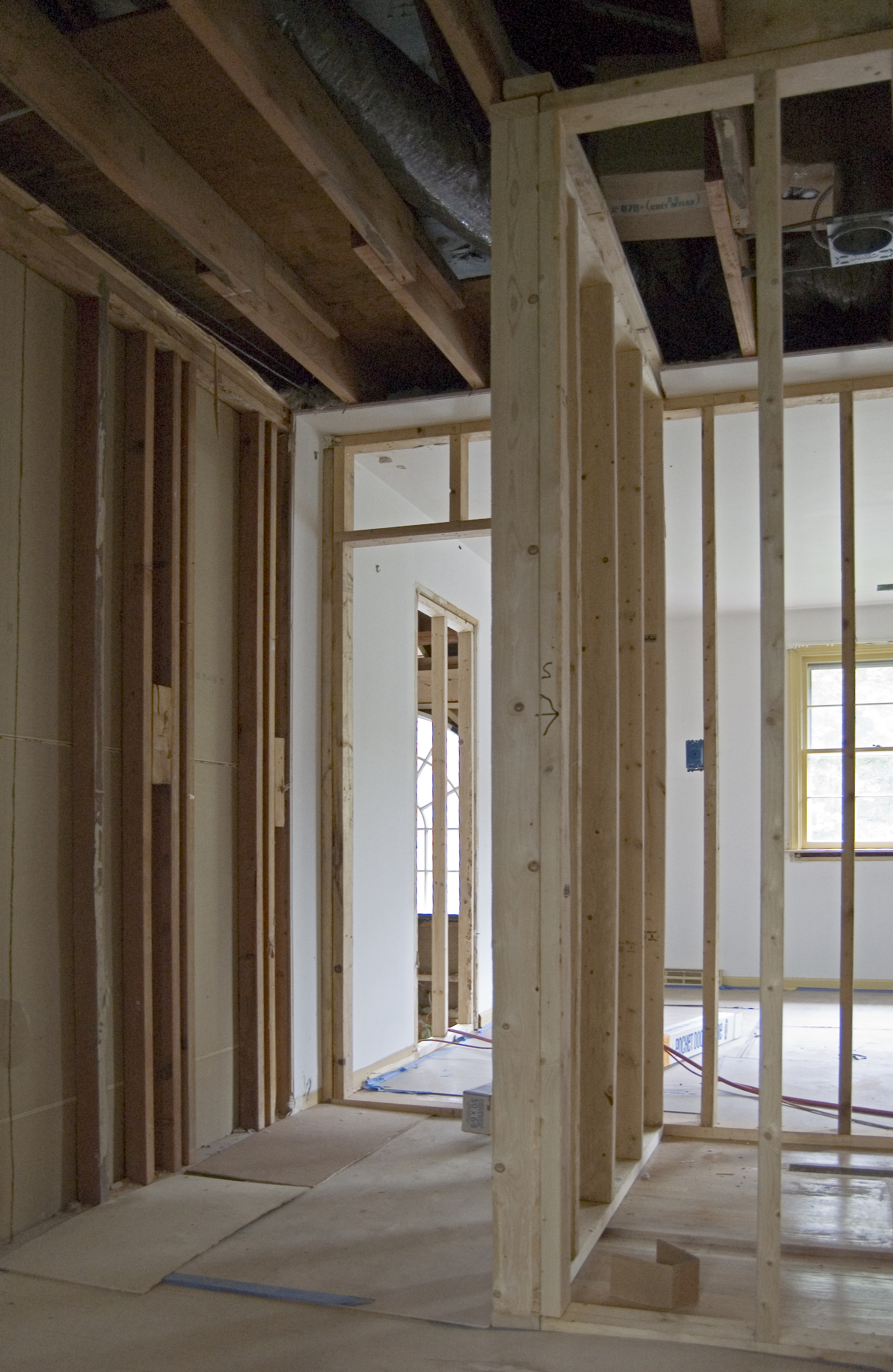 More framing upstairs whitby drive renovation - Adding walk in closet to bedroom ...